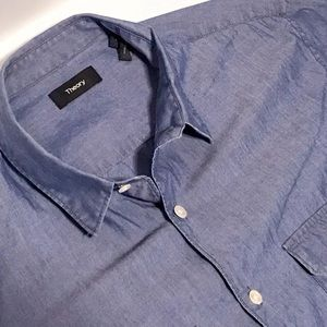Theory blue chambray pocket shirt L current stock